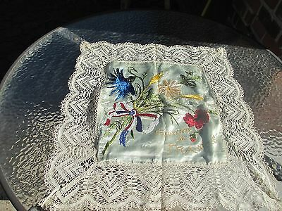 Antique Victorian Silk Souvenir Lace Embroidered Beaded France
