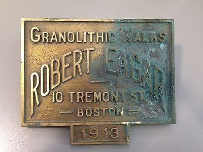 NOS Antique Sidewalk Marker Boston Granolithic Walks 1913