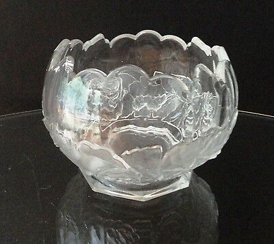 GORGEOUS Czechoslovakia Clear Crystal Glass Raised Floral Cut BOWL Stamped