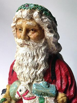 """Vintage Hand Carved Wooden Wood Old Charming Santa Claus 10"""" Tall Toys Deer"""