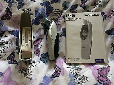 Used Welch Allyn Braun ThermoScan Pro 4000 Thermometer + Probe Covers