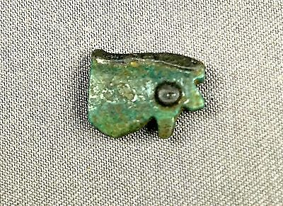 Authentic Ancient Egyptian Wedjat Amulet- EYE OF HORUS- Deep Green-Blue Faience