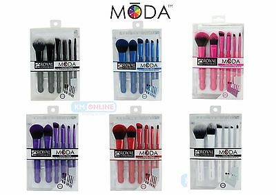 Moda Total Face Professional Make Up Brush Set. White Blue Red Purple Black Pink