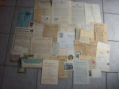 Lot Of 45 Pieces 1930's Vintage Ephemera Correspondence Letters Advertising