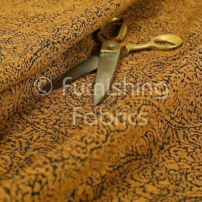 All Over Detailed Damask Heavyweight Soft Chenille In Gold Upholstery Fabric