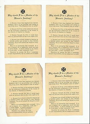 Lot Of 4 Woman's Auxiliary Educational Department Mscc Church House Toronto