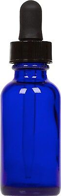 100 Pack Cobalt Blue Glass Boston Round Bottle w/ Black Glass Dropper 1 oz