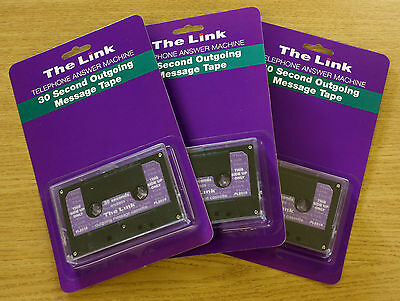 3 x The Link 30 Second Endless Loop Answering Machine Message Cassette Tape