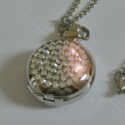 Ladies Fashion Necklace Pendant Watch Made with Swarovski Clear Crystals Gift