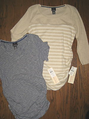 NEW Motherhood Oh Baby maternity womens medium top blouse lot shirt striped