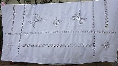 Embroidered Cotton Tablecloth Drawnwork Antique Banquet Handmade