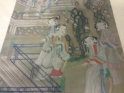 Antique Asian Scroll art  hand painted unsearched no signature Estate damage