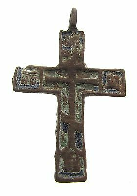 Late / Post Medieval Bronze Enameled Cross  - Wearable Artifact Rare - H103
