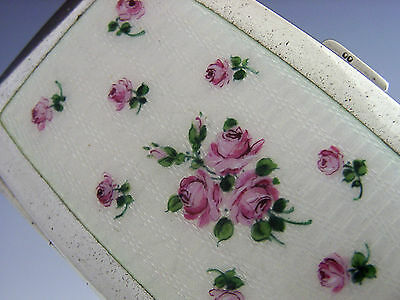 STERLING SILVER ENAMEL ROSES CIGARETTE CASE AUSTRIAN c1919 ART DECO ANTIQUE