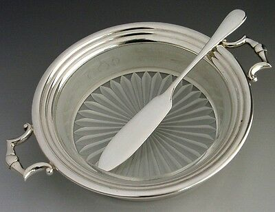 Mint Boxed English Sterling Silver Cut Glass Butter Dish & Spreader 1990
