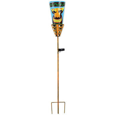 Outdoor Tiki Torches - Solar Powered LED Light -Metal Yard Art - Big Orange Nose
