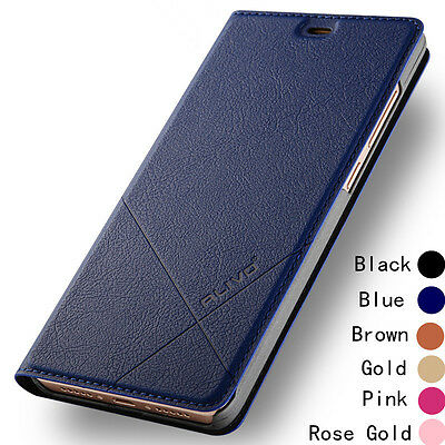 Luxury Genuine Magnetic Leather Wallet Card Stand Flip Cover UP Case For Huawei