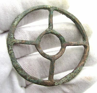 Roman Bronze Wheel Of Fortune Amulet - Superb Ancient Wearable Artifact - H113