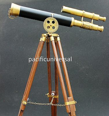 NAUTICAL MARINE Brass Replica Design Telescope With Wood Tripod Floor Stand .