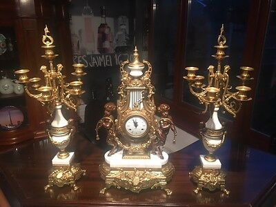 Imperial Huge Italy Brevetatto Gold Gilt Marble Clock With Candelabra Set