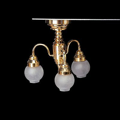 1:12 Dollhouse Brass Chandelier 3 arm Lamp LED Ceiling Lamp Glass Shade N4S2