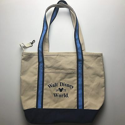 Walt Disney World Mickey 1971 Embroidered Canvas Tote Bag Vacation Beach