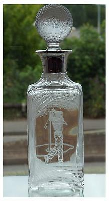 Silver Mounted Unique Crystal Decanter With Golfer