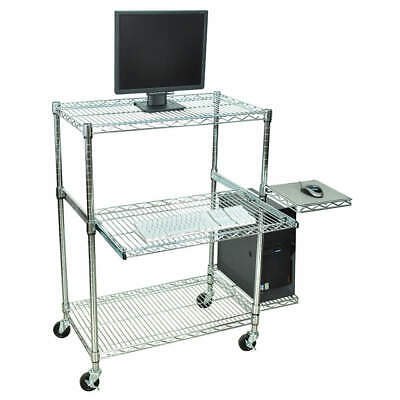 LUXOR stainless steel Computer Workstation,Portable,Chrome, LICW4218