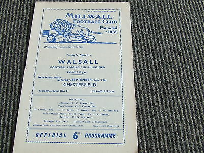 Millwall V Walsall 1961-2 Fl Cup 1St Round