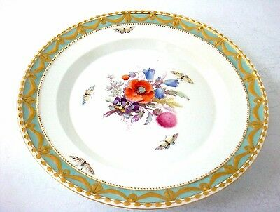 Kpm Berlin Porcelain Quality Raised Gilded Border Plate Butterflies & Flowers