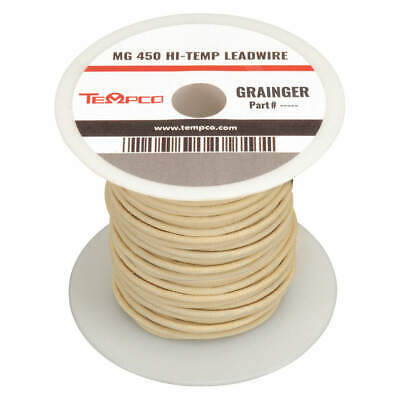 TEMPCO High Temp Lead Wire,12AWG,100ft,Natural, LDWR-1014