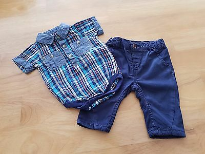 NEXT / MATALAN Baby Boy 2 Piece Outfit Check Body Shirt & Trousers Age 0-3m