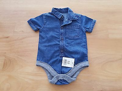 GEORGE Baby Boy Chambray Denim Style Bodysuit Shirt Age 0-3m BNWT