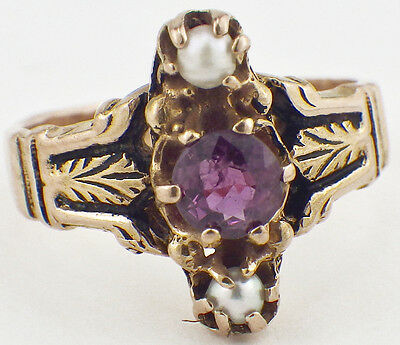 Vintage 14K Yellow Gold Art Deco Ring Amethyst & Seed Pearls Leaf Design