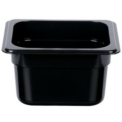 "12 PACK 1/6 Size BLACK Plastic Steam Prep Table Food Pan 4"" Deep Polycarbonate"