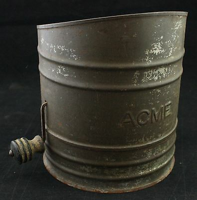 Vintage Metal Acme Wood Handle Hand Crank Flour Sifter Good Working Condition