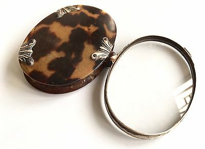 Antique Silver And Faux Tortoise Shell Magnifying Glass Antique Eye Glass Loupe