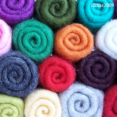 Carded sheep wool roving for felting spinning DIY crafting 2oz/57gr - pick color