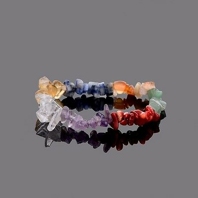 Stretch 7 Chakra Chipped Raw Natural Stone Yoga Healing Quartz Crystal Bracelet