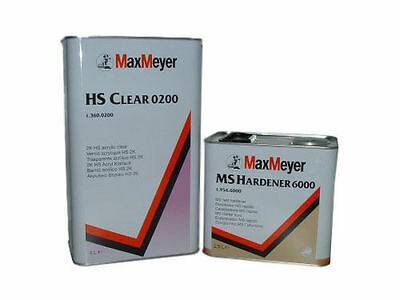 Max Meyer 0200 2K HS Clear Coat Car Paint Gloss Lacquer Kit + 6000 Fast hardener