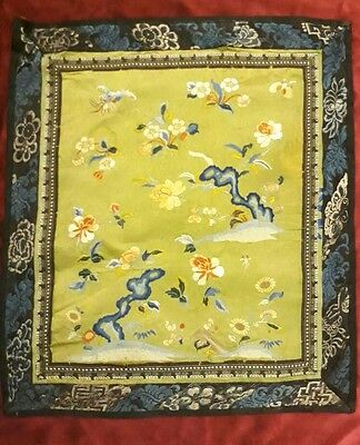 "Antique Chinese Hand Embroidery silk textile  size 15""×13"""