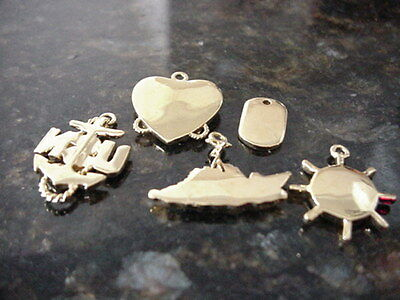5 USN U.S. Navy Charms Pendant Jewelry Small Military Gold Tone & Rhinestone