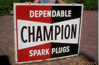 Vintage Metal 2sided Champion Spark Plug Sign Gas Service Station Gasoline Oil