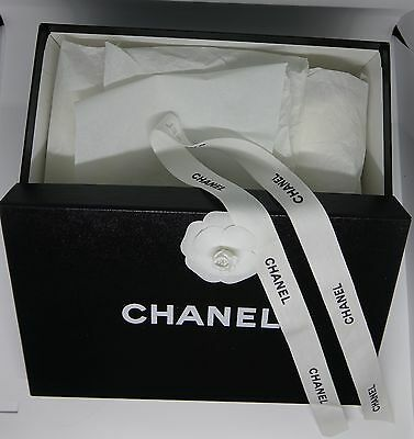 Chanel Empty Shoe Box With Camelia Tissue Paper And Ribbon