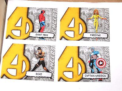2012 Marvel Beginnings Series II Avengers Die-Cut 4 INSERT CARD LOT! CAPTAIN!