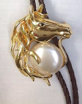 Horse Head In A Pearl Style Bolo Tie Vintage Classic American Boot Lace