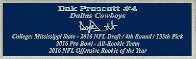 Dak Prescott Autograph Nameplate Dallas Cowboys Helmet Photo Ball Jersey