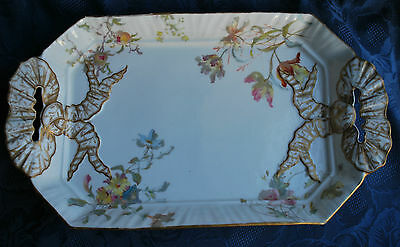 Victorian Doulton Burslem Beautiful Tray with Hand Painted Flowers     #125