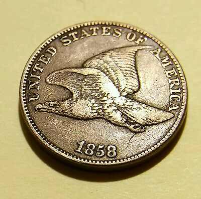 Nice 1858 U.s. Flying Eagle Cent Large Letter Copper Nickel W Obverse Die Crack!