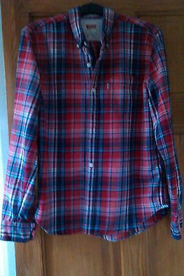 Mens Levis Checked Red Slim Fit Shirt Size Medium